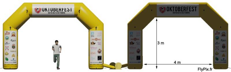 Visualisation 3D de l'arche gonflable publicitaire, ici avec la matérialisation des logos et des marquages sur bandes velcro.
