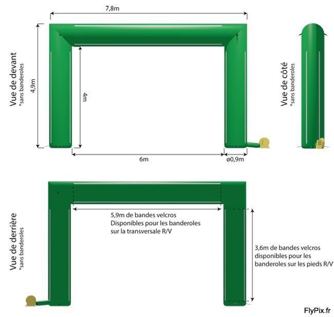 Exemple d'arche publicitaire en U inversé sans marquage avec la position des bandes velcro