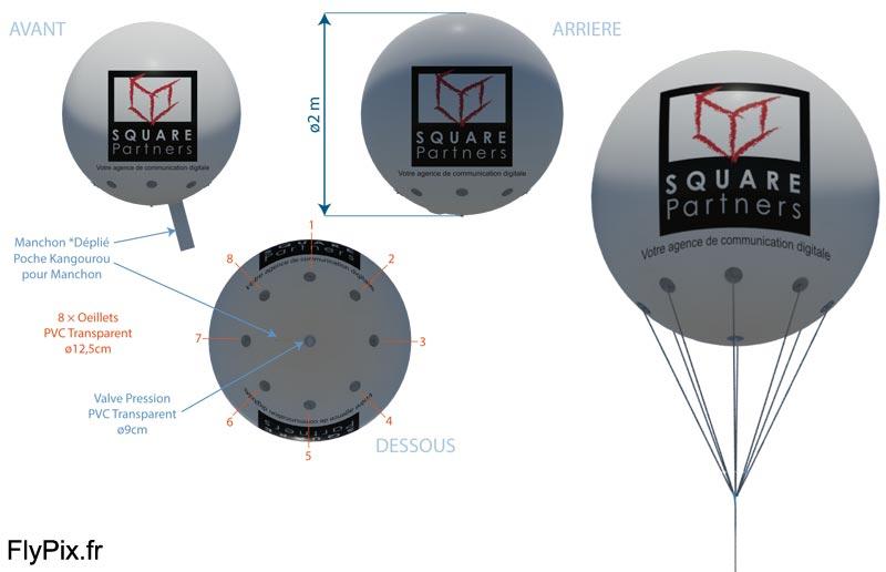Simulation 3D de la représentation d'un ballon publicitaire sphérique avec marquage d'un logo en impression numérique couleur.