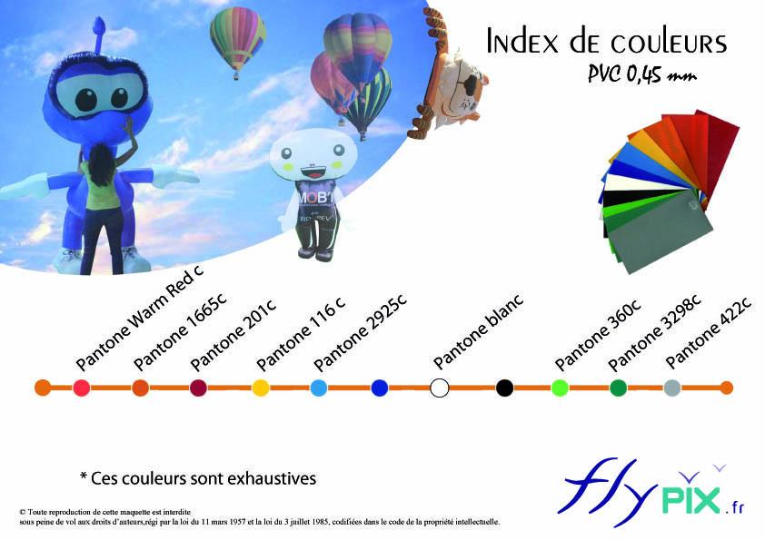 Gamme de couleurs disponibles pour les tentes gonflables ou dômes gonflables.