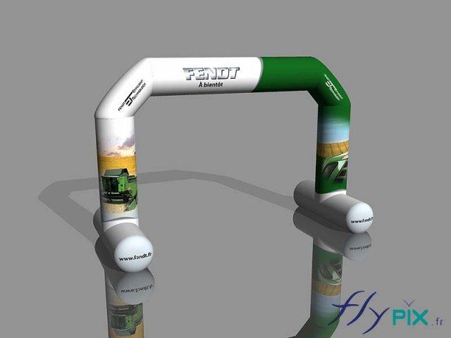 Arche gonflable publicitaire représentée en 3D
