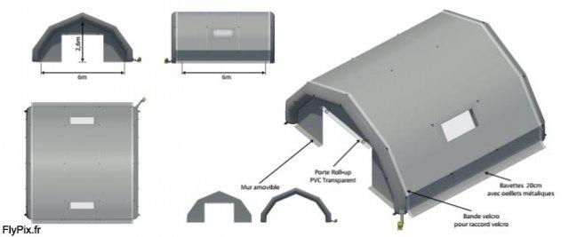 Exemple de BAT pour un dôme gonflable abri de piscine.