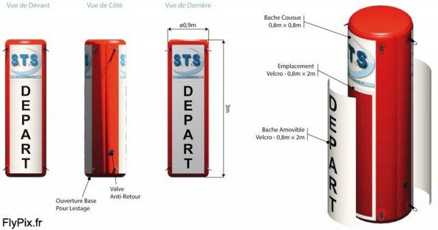 Totem gonflable publicitaire qui sera utilisé pour le balisage d'un circuit de piste de ski pour une compétition sportive dans une station de sport d'hiver.